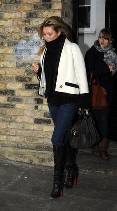 Kate Moss black and white chanel jacket black boots handbag jeans