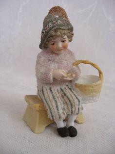 Rare Figurine Child with Lavender Snow Bisque