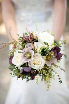 Lavender Hellebores, Garnet Hellebores, White Freesia, White Roses, Greenery & Foliage Wedding Bouquet