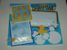 Bath Time  One 12x12 premade scrapbook page...for all of those funny photos of your little one taking their bath!...there are at least three
