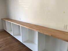 All about how we DIY'd our built in bookshelves using IKEA cabinets. Cabinets And Countertops, Ikea Cabinets, Built In Cabinets, Custom Bookshelves, Bookshelves Built In, Bookcases, Office Space Design, Home Office Space, Book Cabinet