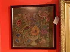 """Old English Needlepoint on Sale   22"""" x 22""""   Was $539 Sale Price $324  Dealer #223  Lost. . .Antiques 1201 N. Riverfront Blvd. Dallas, TX 75207  Monday - Saturday: 10am - 5pm Sunday 11a"""