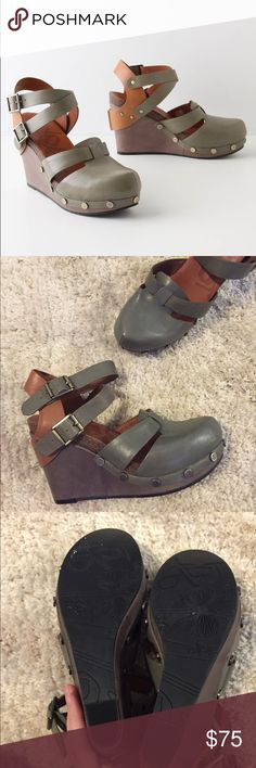 OTBT Green Closed Toe Wedges Brand is OTBT for Anthropologie. Practically new condition. Two straps on the ankles. Studs around the bottom of the wedges. Anthropologie Shoes Wedges