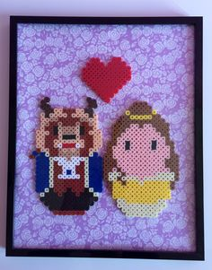 Framed Beauty and the Beast Couple Wall Art Perler Beads by PixelPrecious