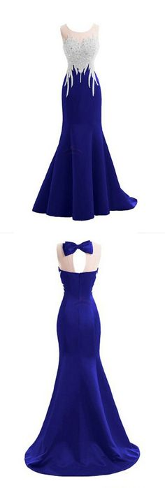 Sparkly Crystal Prom Dresses,Mermaid Prom Dresses,Sexy Backless Prom Dresses,Sleeveless Prom Dresses,Long Prom Dresses - 2016 I don't like the bow in the back Royal Blue Prom Dresses, Prom Dresses 2017, Backless Prom Dresses, Prom Party Dresses, Sexy Dresses, Dress Party, Sparkly Dresses, Wedding Dresses, Wedding Shoes