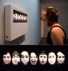 """Reface uses face-tracking techniques to allow automatic alignment and segmentation of its participants' faces. As a result, visitors to the project can move around freely in front of the display without worrying about lining up their face for the system's camera. The video clips recorded by the project are """"edited"""" by the participants' own eye blinks. Blinking also triggers the display to advance to the next set of face combinations."""