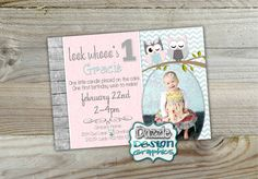 Printable Shabby chic owl birthday invitation for girls. Soft pink and mint chevron accents with adorable owls atop your birthday girl's photo. Great for any age - customize your info with this printable invitation! by DazzleDesignGraphics Owl Birthday Invitations, Printable Invitations, Shabby Chic Birthday Party Ideas, Birthday Ideas, It's Your Birthday, Girl Birthday, Shabby Chic Invitations, Mint Chevron, 6 Photos