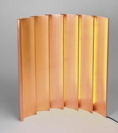 Line table light by François Champsaur for Pouenat Ferronnier. Large folds (W90cm H97cm) of warm, soft copper.