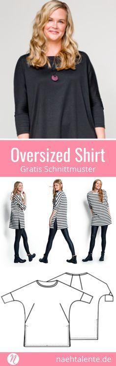 Oversized Shirt für Damen mit Fledermausärmeln und geteiltem Saum ❤ Gratis Schnittmuster ❤ Gr. XS - XXL ❤ PDF zum Ausdrucken ❤ mit Nähanleitung ✂ Nähtalente.de - Magazin für gratis Schnittmuster & Hobbyschneider/innen ✂ #nähen #freebook #schnittmuster #gratis #nähenmachtglücklich #freesewingpattern #handmade #diy