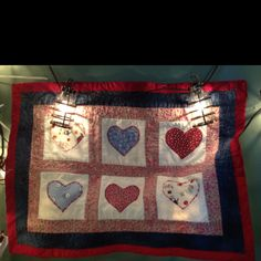 Quilted hearts placemat by me!