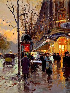 """Edouard Leon Cortes (1882-1969) Paris: Part 2 """"Theatre du Vaudeville"""" Oil on Canvas 13""""x18"""""""