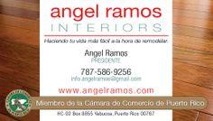 Tarjetas de presentación Angel Ramos Interiors, Yabucoa, Puerto Rico.