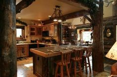DIY Rustic Style Kitchen With Tree Pillar