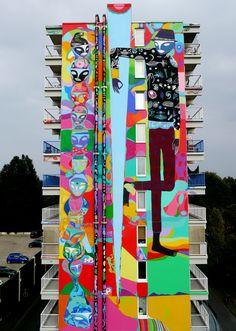Rimon Guimarães , Hogevercht -Bijlmer -Amsterdam , Holland setembro 2014. Mural de 37 metros de altura! R.U.Ahttp://www.rua-art.org