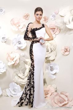 0b666527c8260 2014 White Formal Mermaid Evening Dresses with Black Lace Applique Sheer  Long Sleeve And Back Floor