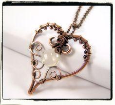 Filigree Heart Lemon Quartz Gemstone Wire Wrapped Pendant Necklace