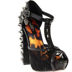 I want them so bad!! Ironfist T bar love lace platforms.