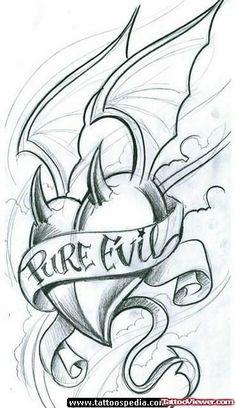 Pure Evil Banner And Winged Devil Heart Tattoo Design : Devil Tattoos Graffiti Drawing, Cool Art Drawings, Art Drawings Sketches, Tattoo Sketches, Tattoo Drawings, Pencil Drawings, Flash Art Tattoos, Body Art Tattoos, Unique Tattoo Designs