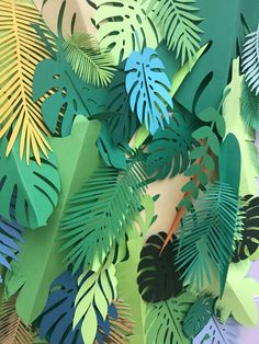 Paper leaves palette green leaves leaves cut outs palm Palm Tree Leaves, Tropical Leaves, Green Leaves, Paper Leaves, Paper Flowers, Paper Palm Tree, Jungle Party Decorations, Birthday Decorations, Primary And Secondary Colors