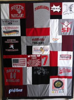 Memory T-shirt Quilt. I am doing this with all of Andres' USC college and National Masters Crew competition T-shirts! Awesome Idea!