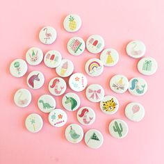 These sweetpinback buttons are perfect party favors, gift toppers, jean jacket fancy-uppers, or gold old fashioned FLAIR! Designed exclusively for Sweet Lulu &