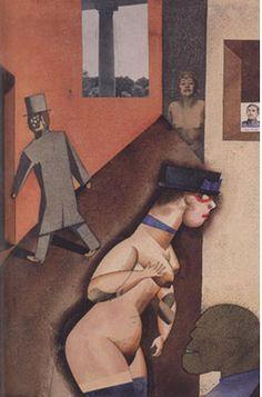 """게오르그 그로츠, """"타틀린적인 도표"""", 1920, 티센-보르네미자 미술관.    그로츠는 정치 의식이 드러난 그림을 많이 그렸다. 민중을 착취하는 자본주의자처럼 부르주아를 비판하는 요소를 그리기도 했지만 동시에 퇴폐적인 문화와 우리가 사는 게걸스러운 모습의 세계를 풍자하였다.    그림의 중심부 하단에 창녀가 있다. 볼록 나온 아랫배, 매우 두꺼운 허벅지가 그녀를 더욱 추하게 한다. 나체의 몸 꼭대기에 얹은 모자, 그 모자의 색에 대비되는 빨간색 안경이 그녀를 더 우스꽝스럽고 음란하게 보이게 한다. 그녀는 자신 앞에서 음흉하게 웃고 있는 남자를 향해 자신의 한쪽 젖가슴을 잡아 내보이면서도 자신을 힐긋거리는 뒤편의 남자를 쳐다보고 있다. 지극히 상품화된 성, 이는 곧 사회의 추한 단면이다. 그러다가 조금 거리를 두고 고개를 살짝 들면 검은 배경 앞 발가벗은 또다른 창녀의 상반신이 보인다. 웃는 듯 마는 듯한 얼굴이 몽환적이다. 마치 유령처럼 관객을 바라보고 있다."""