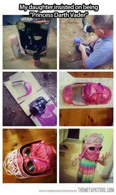 Spray paint a death Vader mask pinkand add a tiara! Cute!