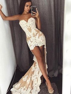 High Low Evening Dress Party Gown, Sexy Lace