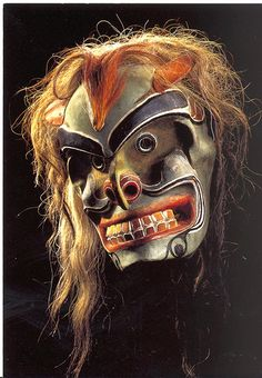 Kwakwaka 'wakw Mask  Naatie American mask about 1900. The frearsome , skeletal appearance of Bakwus, the Wild Man of the Woods, indicates that ahe is Chief of the Gjhosts. He is a smalolo, humna-like creature who lives deep in the woods.; Occasionally, he emerges to dig for cockels , his favourite food,on desterted beaches