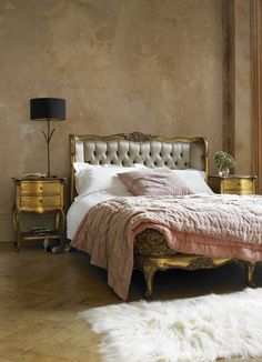 Intricate floral etchings on this French chateau style bed