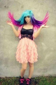 """Oooo. I want that color. Prob: random people in grocery store be like """"lol look at her hair. She's a walking a Crayola box."""""""