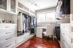 A vanity was included in this walk-in closet under the natural light of the window. Custom Closet Design, Walk In Closet Design, Bedroom Closet Design, Closet Designs, Closet Vanity, House Makeovers, No Closet Solutions, Glass Countertops, Modern Closet