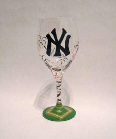 New York Yankees Hand Painted Wine Glass Fireworks by SippinPretty, $25.00//I want one with the Cardinals on it!