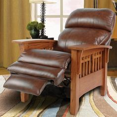 """La-z-boy Furniture, Recliner chairs , """"Eldorado"""", A look with a rich heritage, the Eldorado chair features classic Mission-inspired style combined with modern reclining comfort. Form follows function with warmly finished wood legs and arms and a comfortable chaise seat for added leg support."""