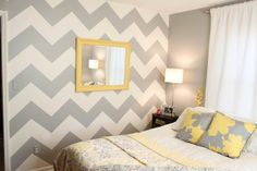 Grey and white chevron wall. Want to paint a room like this when Andrew and I buy a house!