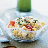 Quinoa, COrn, and Tomato Salad with Chive-Infused Oil!    #HealthyPage