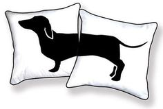 Dachshund Pillows: For stretching out. Hand silk screened on cotton canvas. $39.95