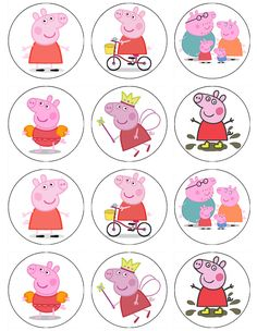Edible cupcake toppers and cake toppers from frosting sheets to top your desserts. Make your own custom cakes! Make your Birthday party or other event spectacular! Pig Cupcakes, Pig Cookies, Peppa Pig Cookie, Cumple Peppa Pig, Cupcake Decorating Party, Pig Character, Disney Frozen Birthday, Pig Birthday, Pig Party