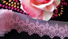 Delicate Floral Venise Lace Trim/ ribbon~ivory pink - price by the yard #Unbranded
