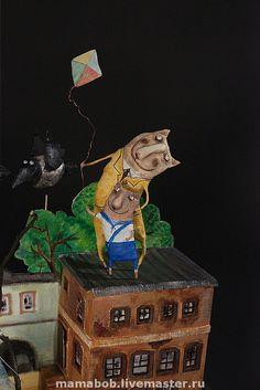 """Купить Проект """"Московский дворик"""" - коты, Папье-маше, москва, ретро, дворик, соседи"""