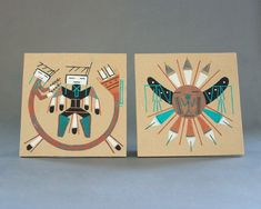Bring home a piece of the American West with this lovely set of square sand paintings. Using natural and dyed sands, the artist taps into traditional Navajo healer motifs. Sand Painting, Sand Art, Turquoise Accents, Artist Signatures, Dry Goods, Healer, Vintage Photos, Nativity, Art Decor