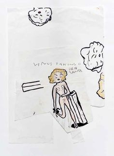 """""""Venus taking off her sandal"""" works on paper by Rose Wylie Rose Wylie, Contemporary Artists, Venus, Art Decor, Art Gallery, Cats, Paper, Sandal, Paintings"""