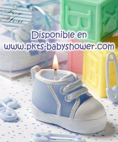 Recuerdos para Baby Shower - Vela Tenis Azul - Disponible en www.pkts-babyshower.com