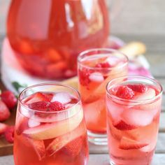 Peach Rosé Sangria Recipe Beverages with wine, peach liqueur, peach juice, simple syrup, peach slices, strawberries