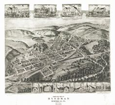 1906 map of Hyndman, Bedford Co., Pennsylvania Birds eye view of Hyndman, Bedfor