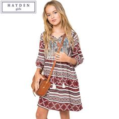 HAYDEN Girls Boho Dress Kids Vintage Dresses Size 12 Years Children Girl Dress 2017 Brand Clothing for Teenagers Bohemian Style Boho Fashion Summer, Tween Fashion, Teenager Fashion, School Fashion, Fashion Black, Fashion Fashion, Fashion Ideas, Vintage Fashion, Cool Summer Outfits