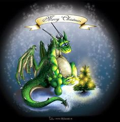 Christmas Dragon by JR-Design Fantasy Dragon, Dragon Art, Fantasy Art, Christmas Dragon, Christmas Art, Magical Christmas, Christmas Stuff, Christmas Holidays, Magical Creatures
