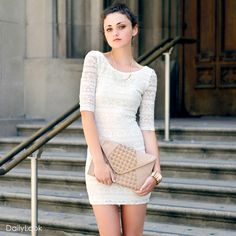 Dailylook. Love this dress so much! the clutch is also super cute.
