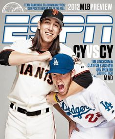 #ESPN April 2012 cover. CY vs. CY. Tim Lincecum givin a noogie to Clayton Kershaw