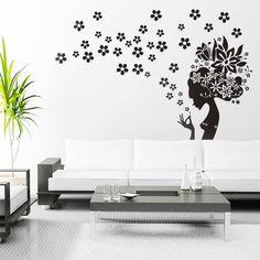 Good Wandtattoo Wandtattoo Blumen Z rtlichkeit M dchen mit Blumen ein Designerst ck von taia s
